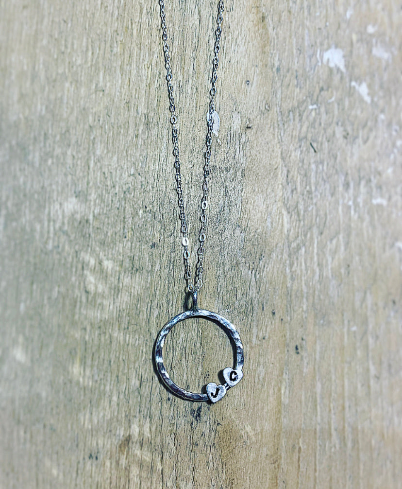 Hoops and hearts pendant