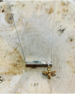 Just bee silver bar necklace with gold bee