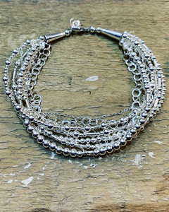 Multi strands sterling silver bracelet