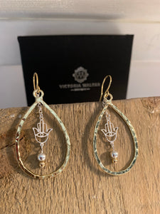 Gold plated hamsa drop earrings