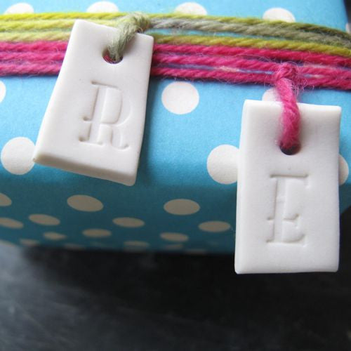 Porcelain Initial Tags