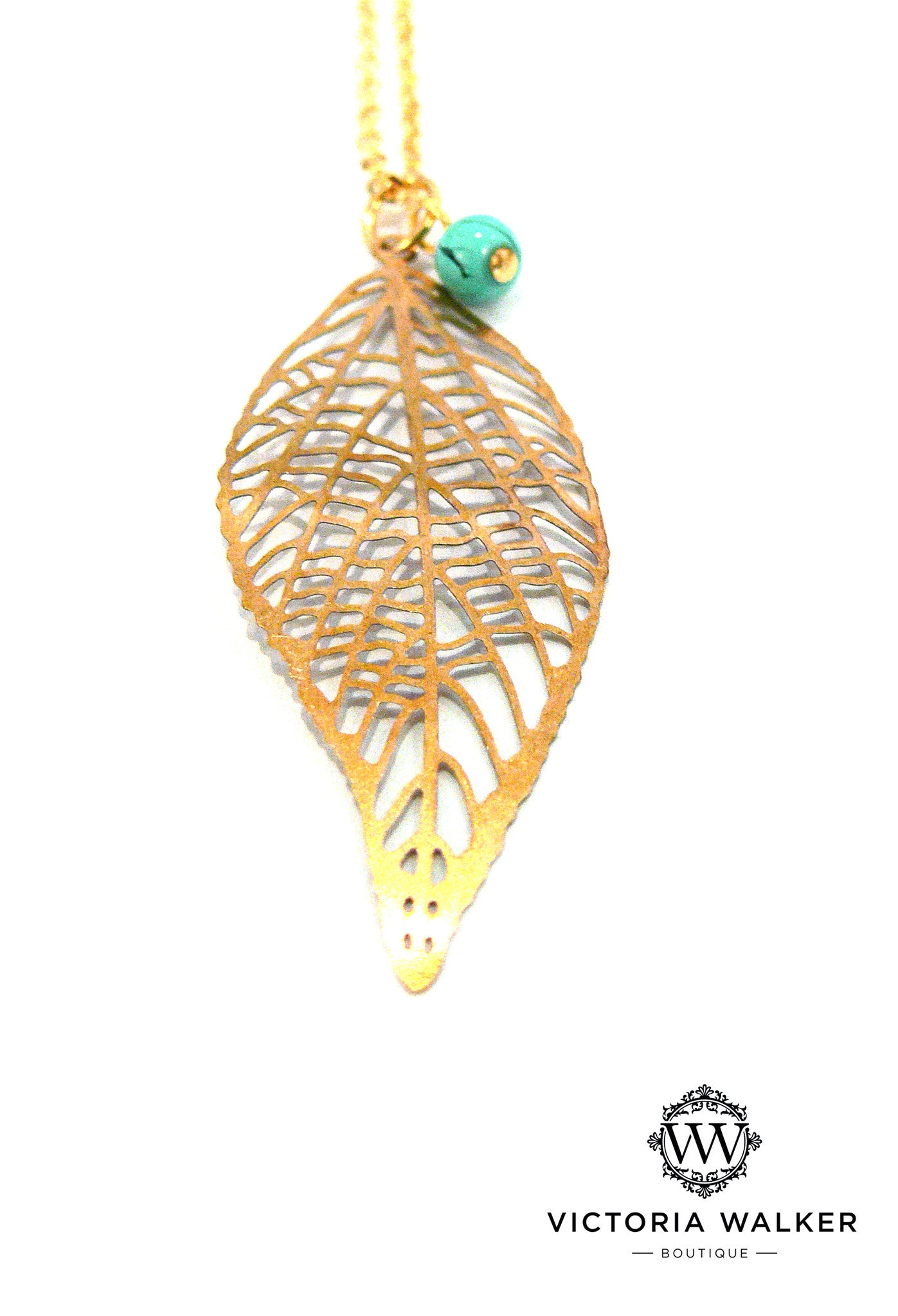 Gold Leaf Turquoise Necklace
