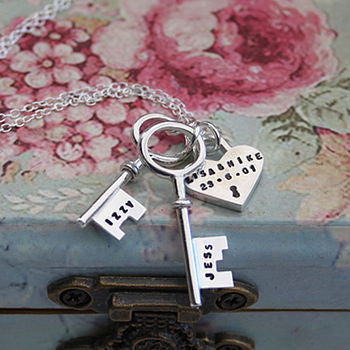 Double Key & Heart Lock Pendant
