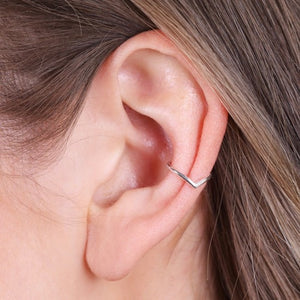 Silver triangle ear cuff