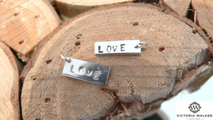 Sterling silver engraved rectangle tags