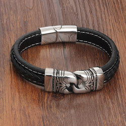 EGOIST KEITH Stainless Steel Leather Bracelet