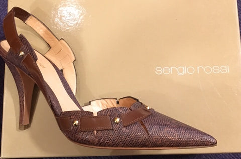 Sergio Rossi brown snakeskin shoes