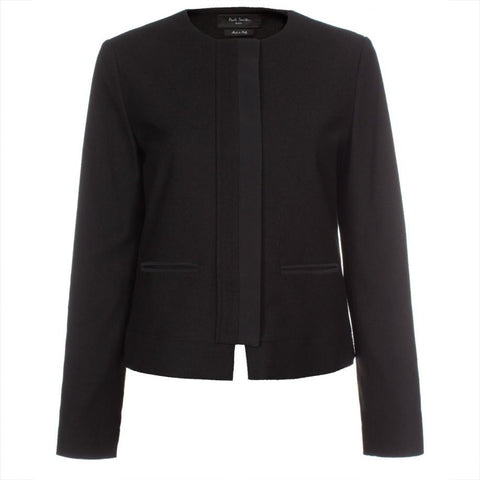Paul Smith Women's Black Textured Wool-Blend Cropped Jacket