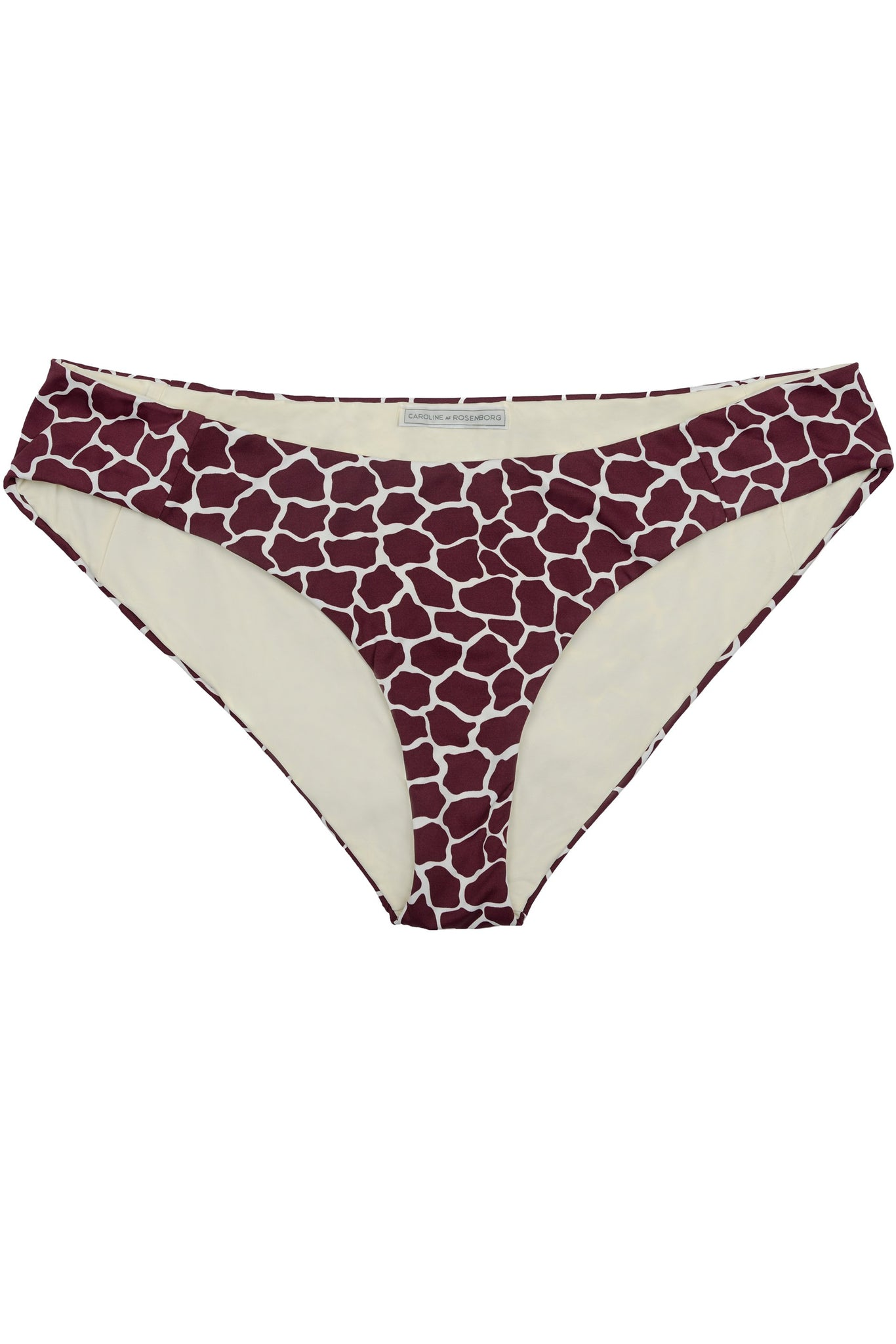Classic covering bikini bottom in dark red burgundy giraffe animal print by Caroline af Rosenborg