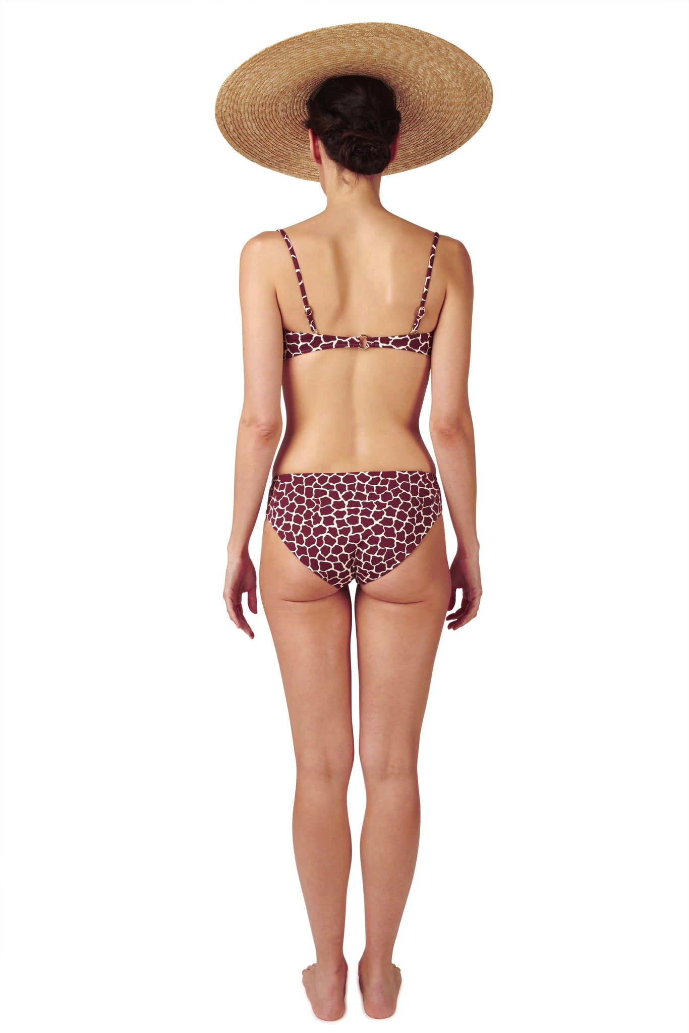 Bandeau top and covering bikini bottom in dark red burgundy giraffe animal print by Caroline af Rosenborg