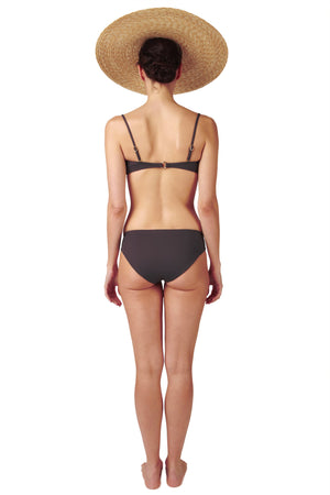 Bandeau top and covering charcoal grey black bikini bottom in charcoal by Caroline af Rosenborg