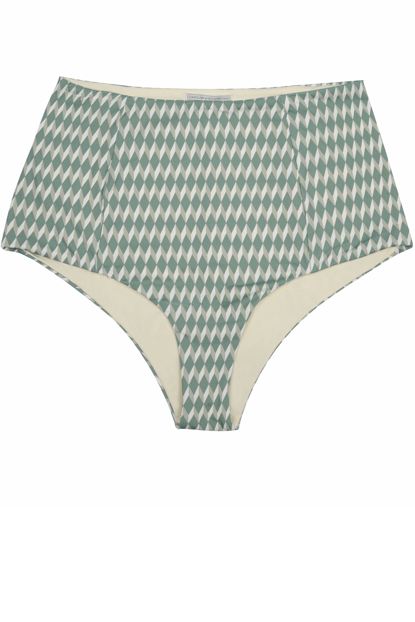High waisted bikini bottoms in green cream geometric print, reversible with a retro look by Caroline af Rosenborg