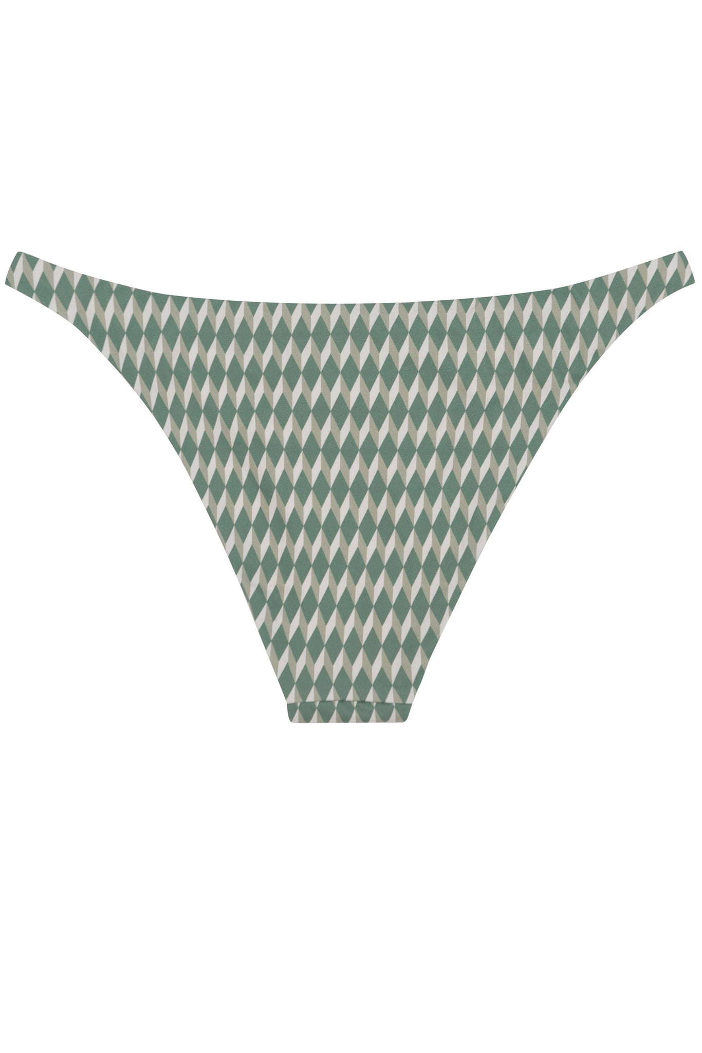 Ring bikini bottom in  green geometric sage print by Caroline af Rosenborg