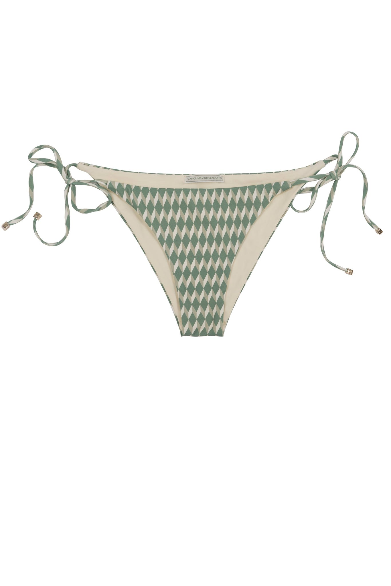 Side tie green bikini bottom triangle shape in cream white geometric tile print by Caroline af Rosenborg