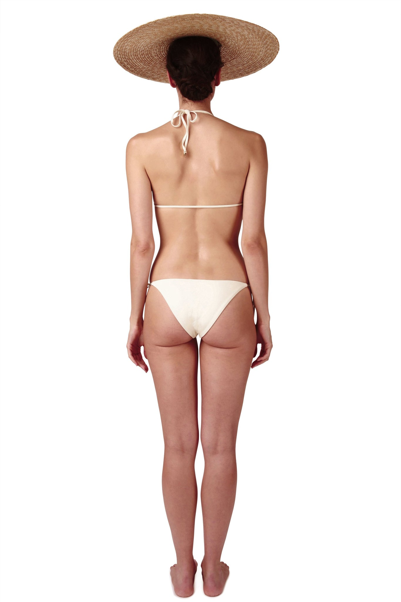 Side tie front opening bikini in cream white by Caroline af Rosenborg