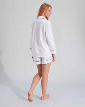 white pyjamas shorts set