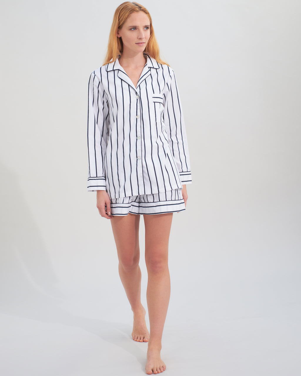 stripy pyjama shorts set