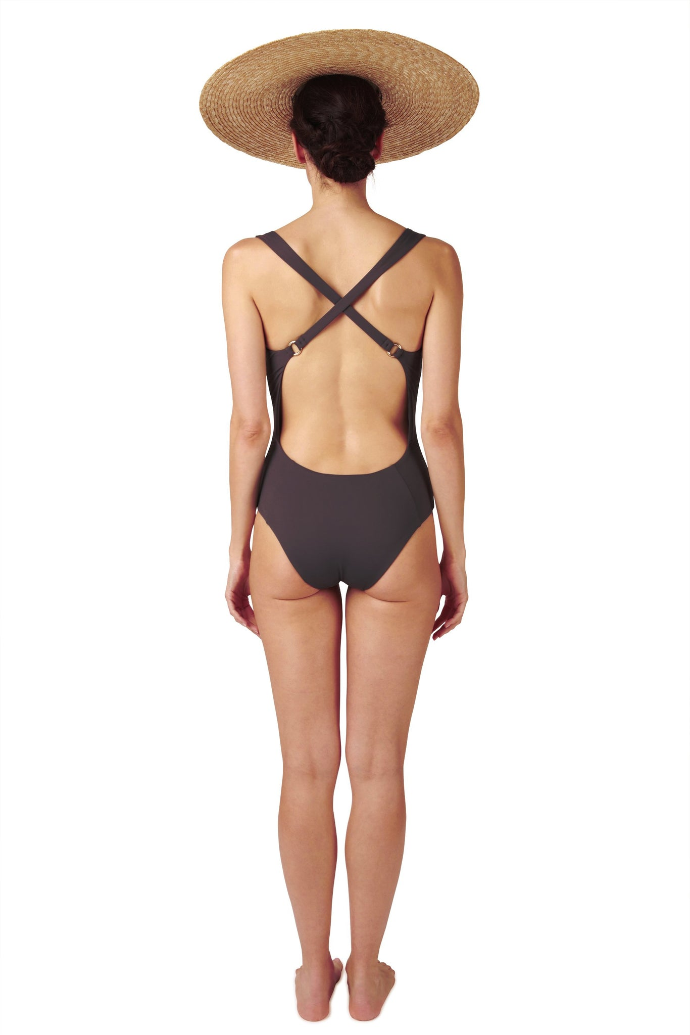 Cross back swimsuit in grey black charcoal with deep back by Caroline af Rosenborg