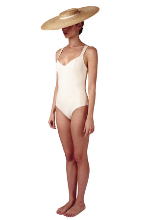 Sweetheart neckline swimsuit in cream white with deep cross back by Caroline af Rosenborg