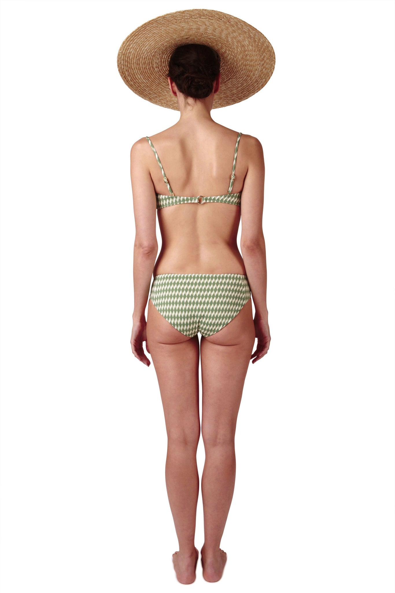 Bandeau bikini top and bikini bottom in green sage diamond print by Caroline af Rosenborg