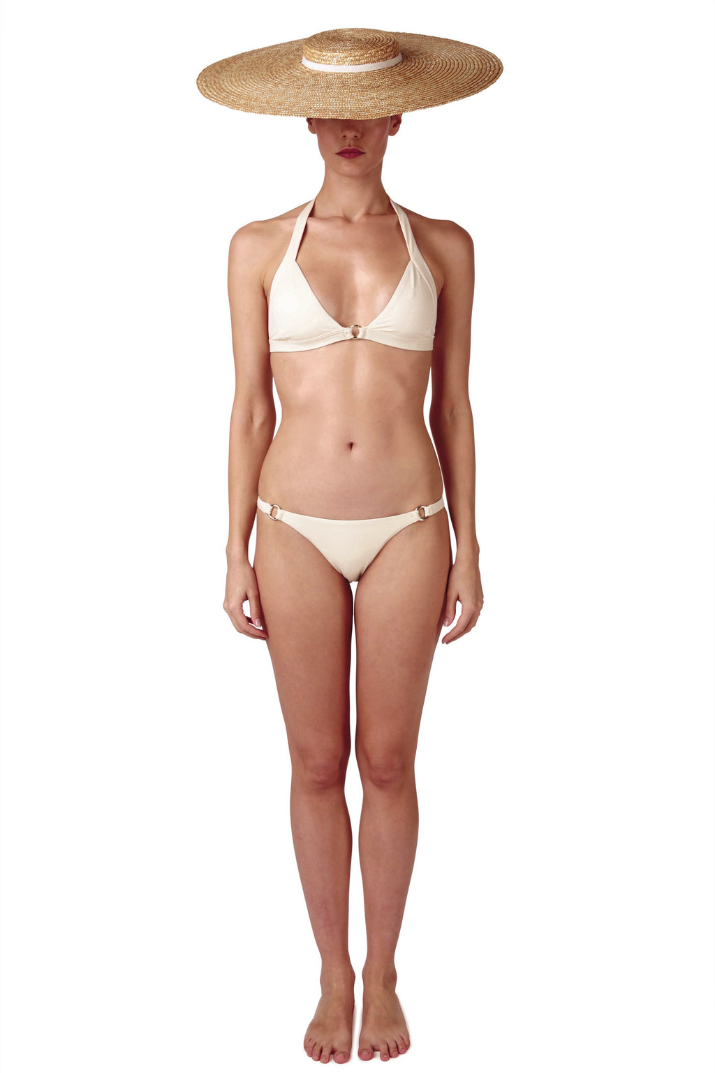 Front opening halter neck bikini top and side ring bottom in cream white by Caroline af Rosenborg