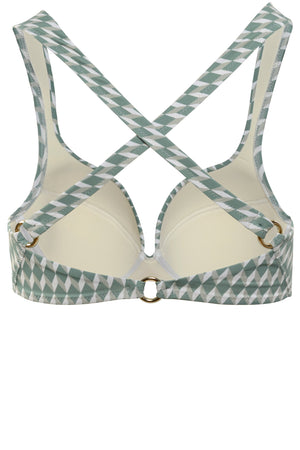Padded cross back ring detail bikini top in sage green diamond print with cream white contrast by Caroline af Rosenborg