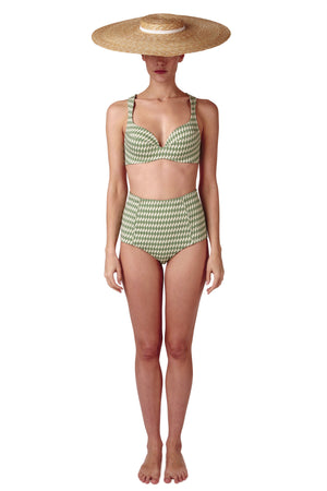 Padded cross back ring detail bikini top and high waisted bikini bottoms in sage green diamond print with cream white contrast by Caroline af Rosenborg