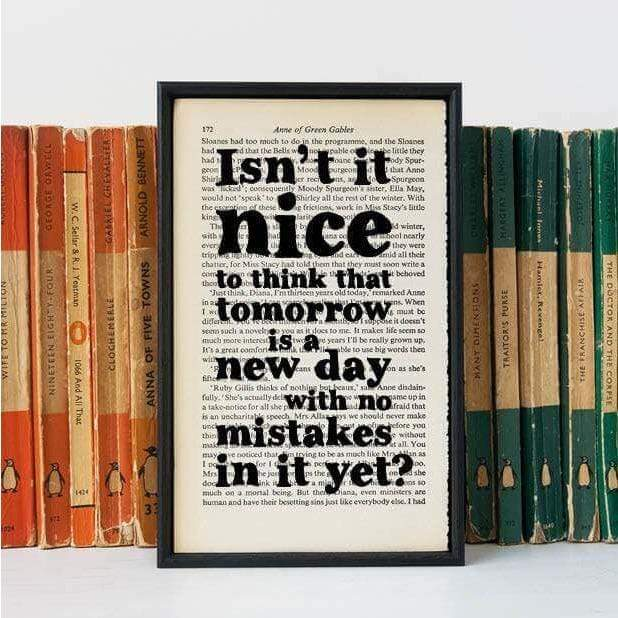 Anne of Green Gables Tomorrow is a New Day Book Page Art BookGeek