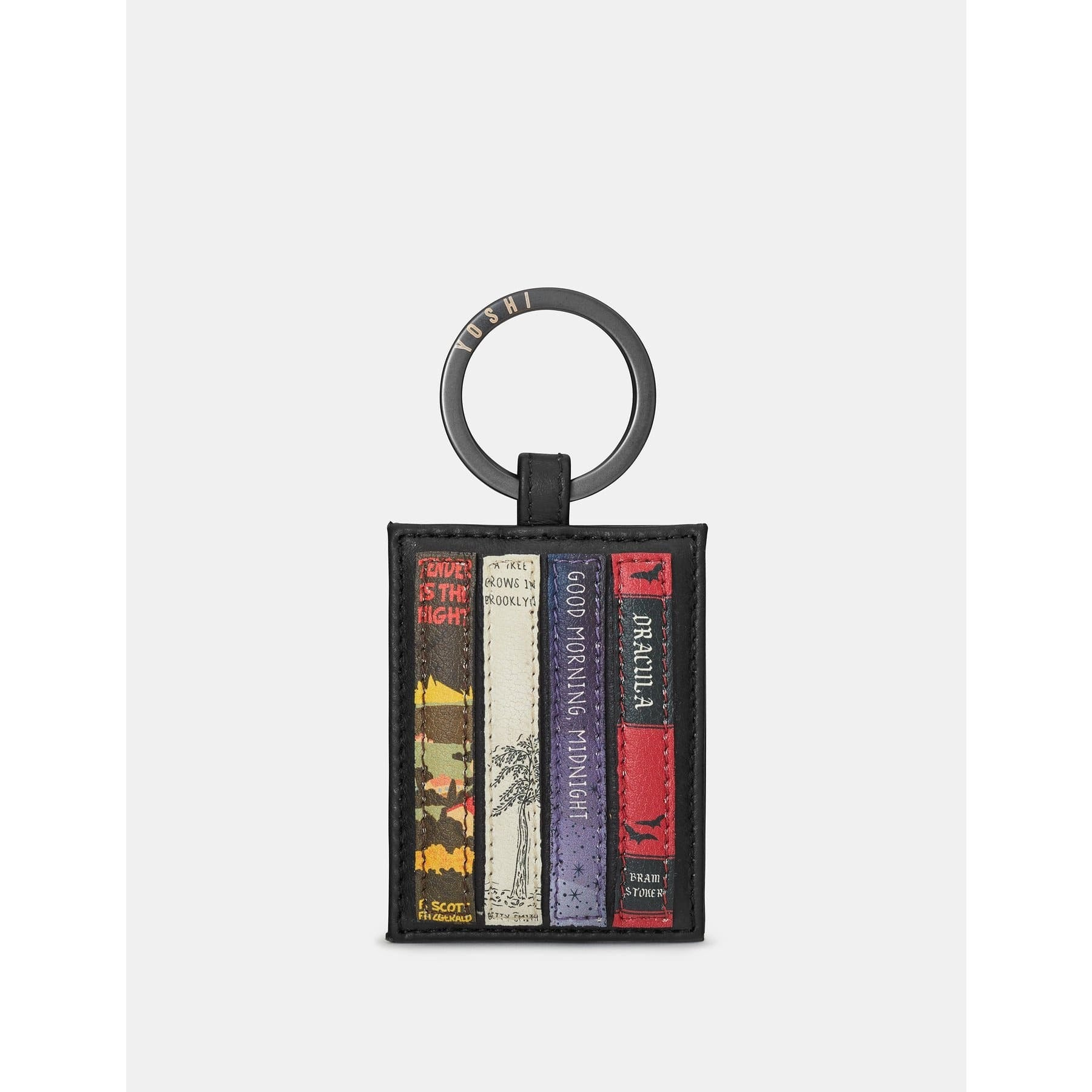 Bookworm Black Leather Keyring BookGeek