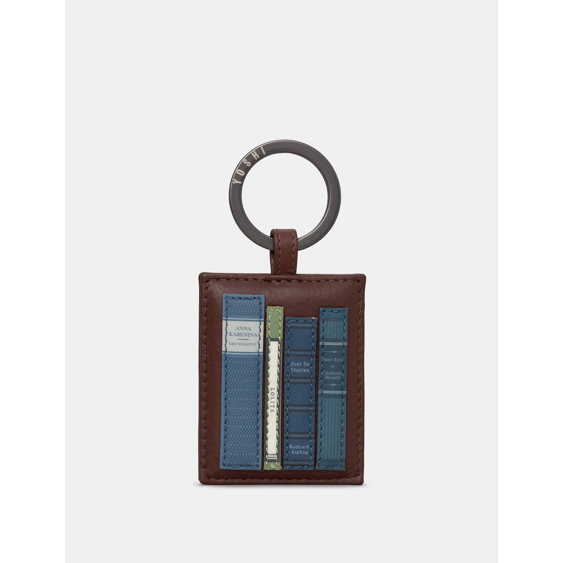 Bookworm Brown Leather Keyring BookGeek
