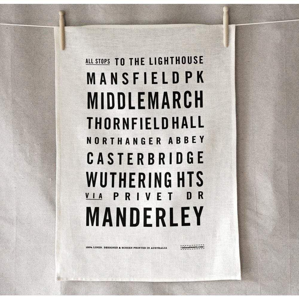 White Fictional Bus Roll Tea Towel BookGeek