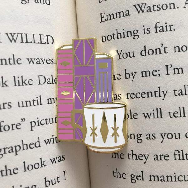 Geometric Books and Mug Enamel Pin BookGeek