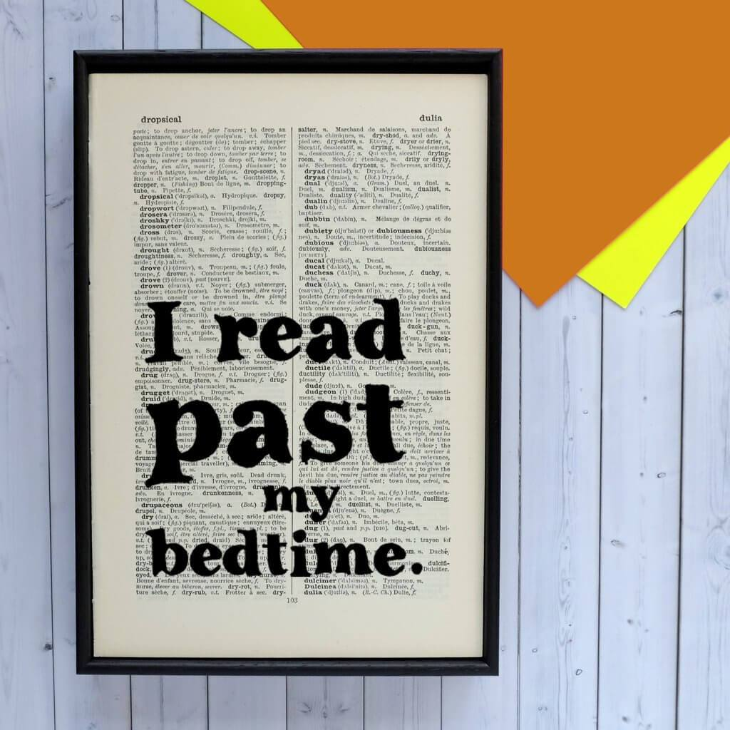 I read past my bedtime Book Page Art BookGeek