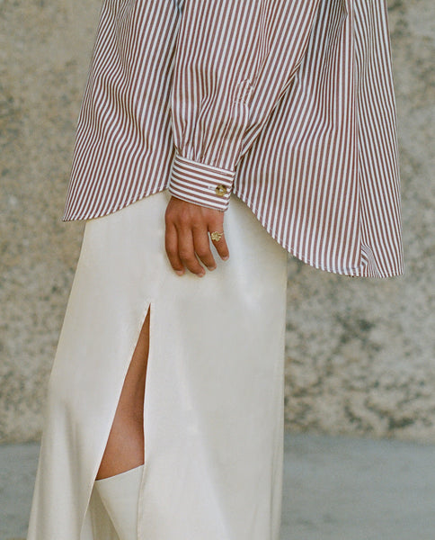 Button Up Shirt | Brown and White Stripe