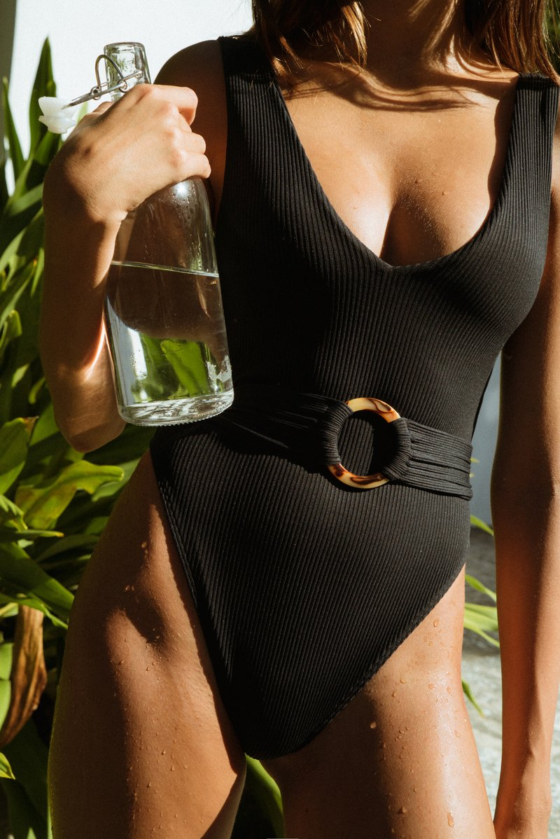 Kim Belted One-Piece, Black