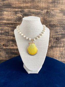 White Beaded Necklace with Yellow Shell