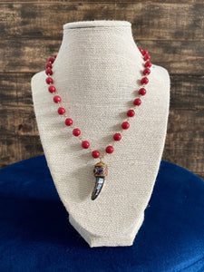 Red Beaded Necklace with Mirror Mosaic Horn