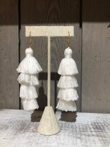 White 4 Tier Tassel Earrings