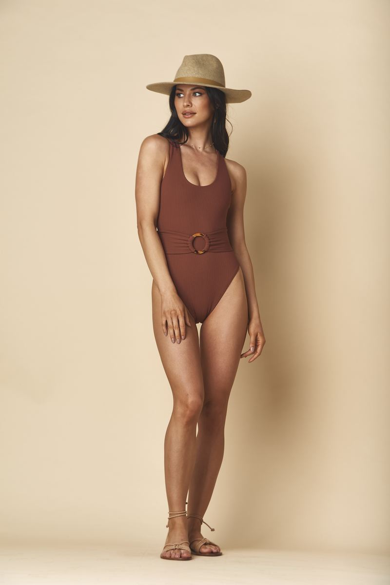 Belted Classic One-piece, Chocolate Rib