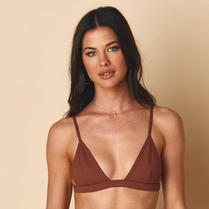 Hunter Triangle Bikini Top, Chocolate Rib