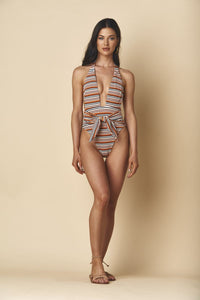 Tropez Tie-up One-piece, Donna Rib
