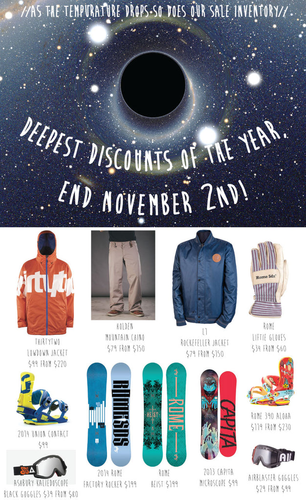 Deepest Discounts Of The Year, End November 2nd.