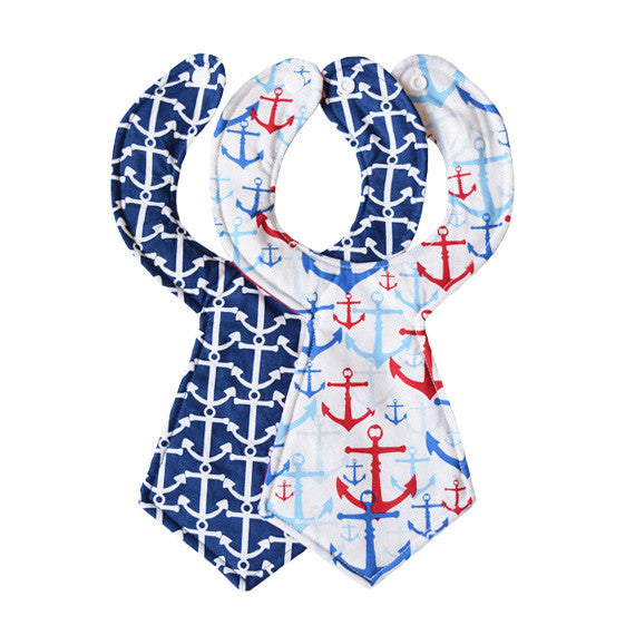 Anchors Baby Necktie Bib Duo