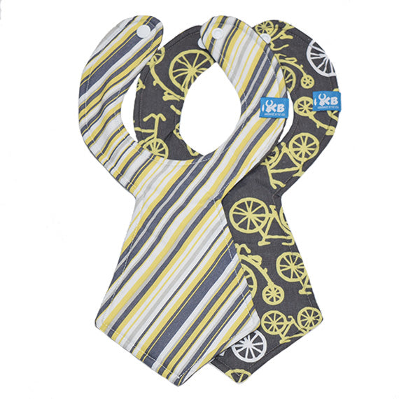 Kinderbib Baby Necktie Bib Bicycle Stripe Duo Back