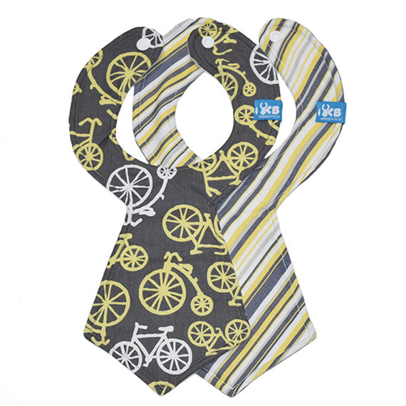 Bicycle Stripe Baby Necktie Bib Duo