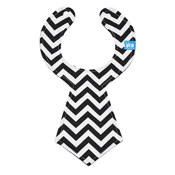 Kinderbib Baby Necktie Bib Black White Chevron