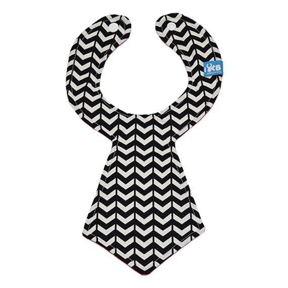 Black and White V Baby Necktie Bib