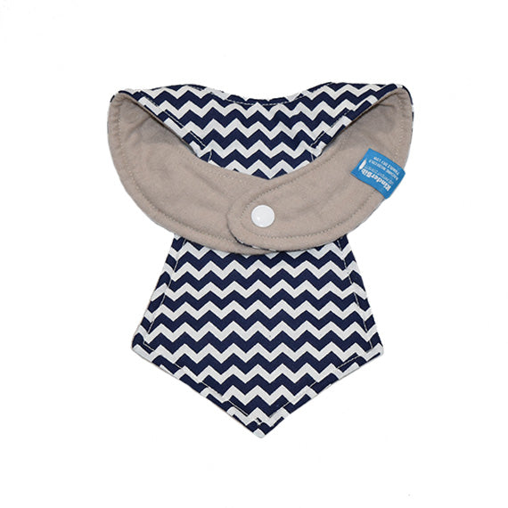 Kinderbib Baby Necktie Bib Blue Chevron Back