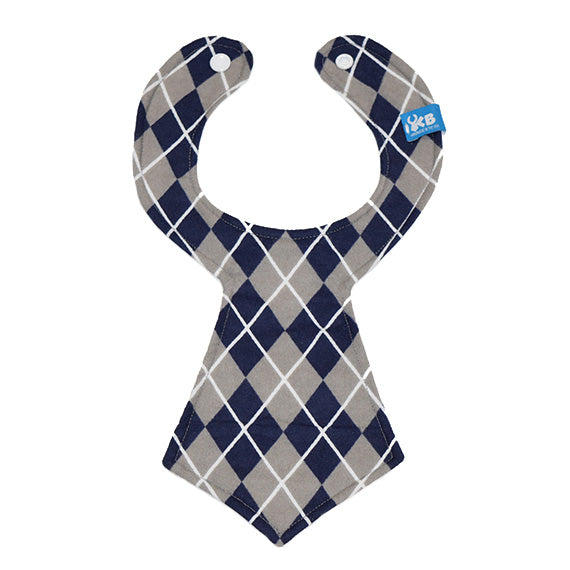 Blue and Gray Argyle Baby Necktie Bib