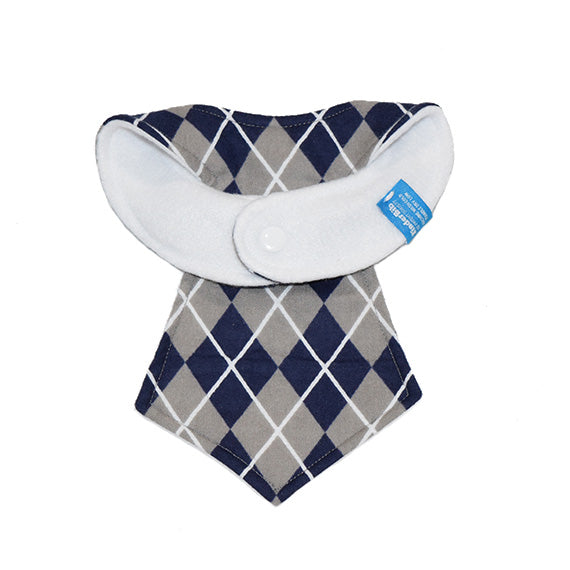 Kinderbib Baby Necktie Bib Blue Gray Argyle Back